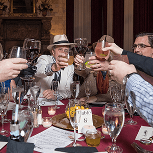 Detroit Murder Mystery guests raise glasses